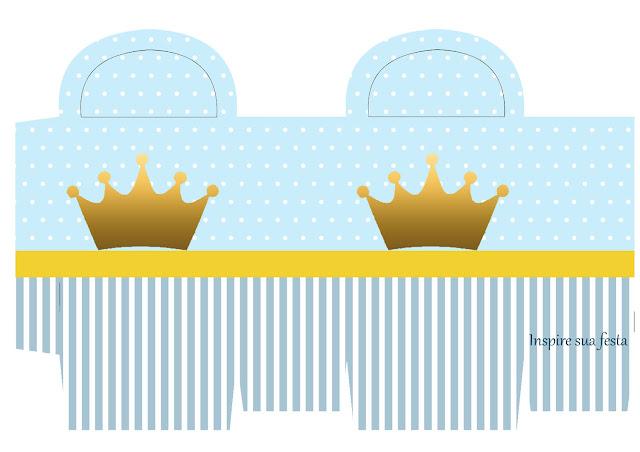 Caja para Imprimir Gratis de Corona en Fondo Celeste.