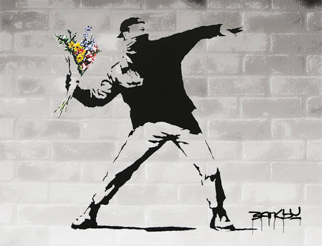 Banksy - Flower Thrower Street art Graffiti