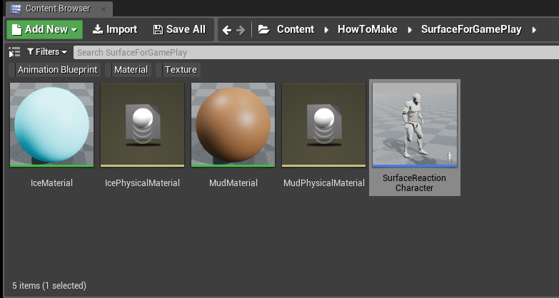 Surface reaction character with physical material | Game Engine Bread