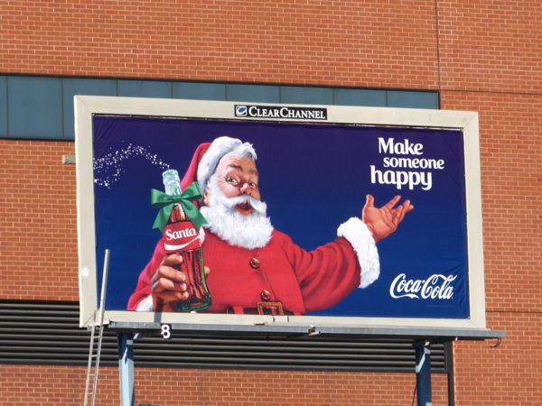 Coke Santa Make someone happy billboard
