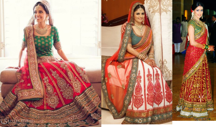 Red skirt And Green choli kali lehenga