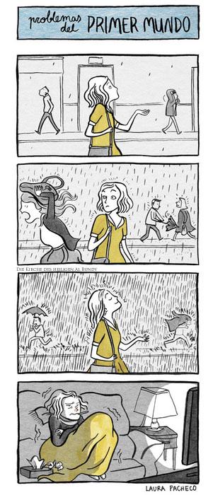 Ich liebe Sommerregen - Frau mit Erkältung Comic lustig