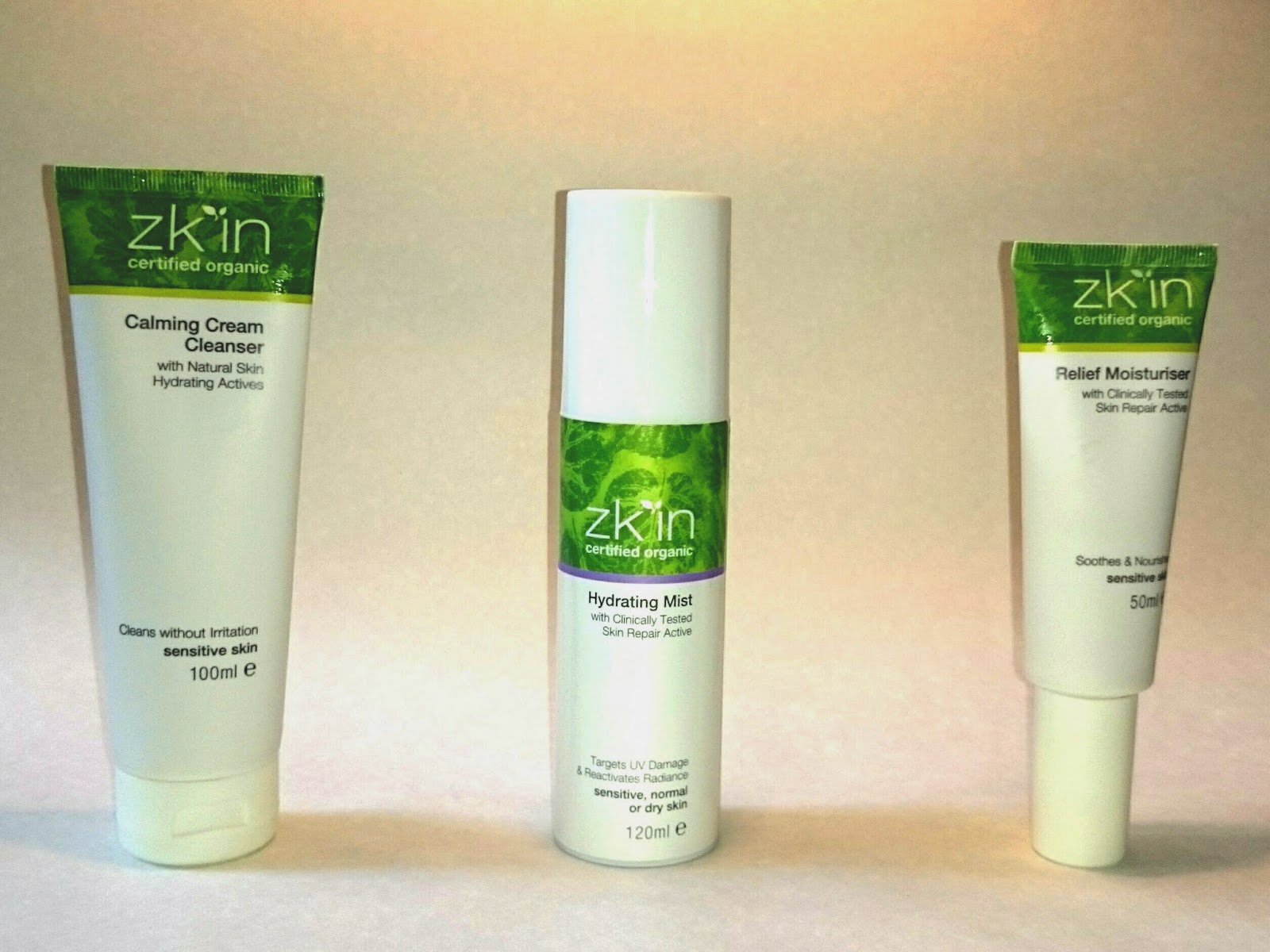 zk'in Calming Cream Cleanser, Hydrating Mist and Relief Moisturiser, unboxed