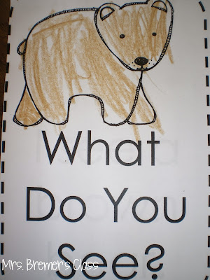 Brown Bear book study companion activities and color word practice for Kindergarten