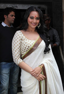 Bollywood Actress Sonakshi Sinha Pictures In Transparent White Saree (1)