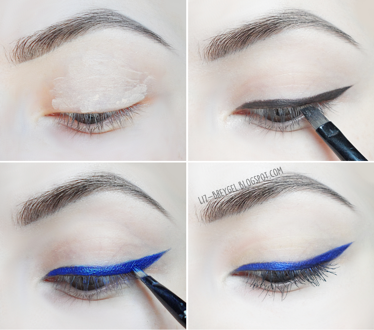 step by step perfect blue wing eyeliner tutorial with pictures by Liz Breygel on January Girl blog.