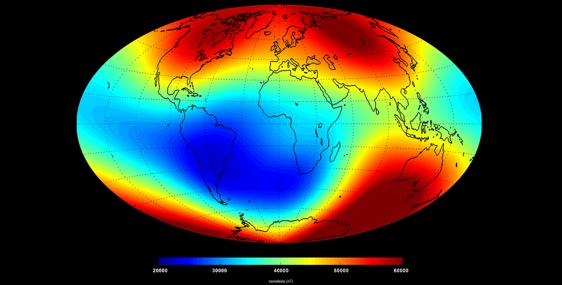 'Snapshot' of the main magnetic field at Earth's surface as of June 2014 based on Swarm data. The measurements are dominated by the magnetic contribution from Earth's core (about 95%) while the contributions from other sources (the mantle, crust, oceans, ionosphere and magnetosphere) make up the rest. Red represents areas where the magnetic field is stronger, while blues show areas where it is weaker. Credit: ESA/DTU Space