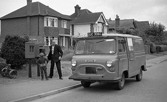 Photograph of postman collecting the post from Holloways Lane, Welham Green in 1966 Image from Ron Kingdon part of the Images of North Mymms collection