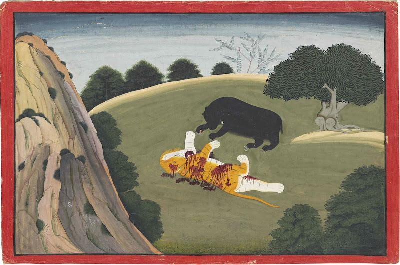 Jambavan Kills a Lion and Obtains the Syamantaka Jewel. An Illustration to the Bhagavata Purana - Indian Miniature Painting, Basohli-Guler style, Circa 1760-65