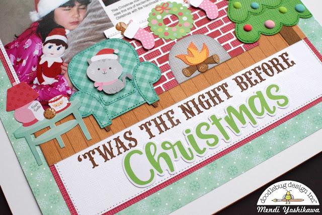 Doodlebug Design Milk & Cookies Twas The Night Before Christmas Scrapbook Layout by Mendi Yoshikawa