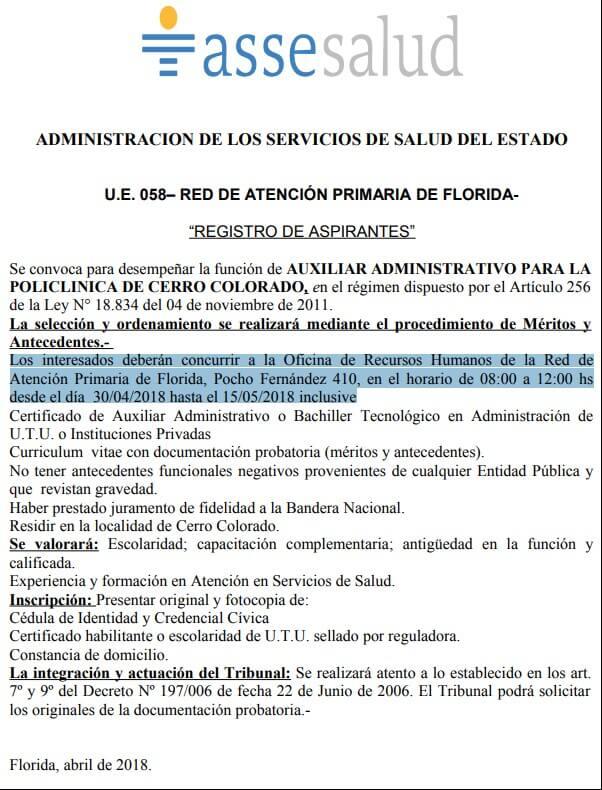 Bachilleres Administración Administrativos Asse 2018
