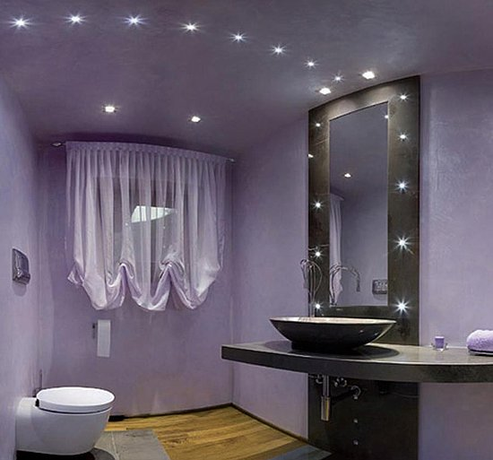 Beauty Houses Purple Exotic Interior Designs Bathroom