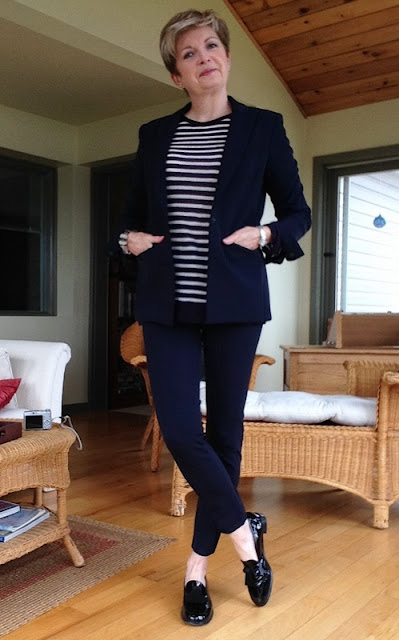 Veronica Beard jacket and cropped pants, Alexander Wang tee, Stuart Weitzman loafer