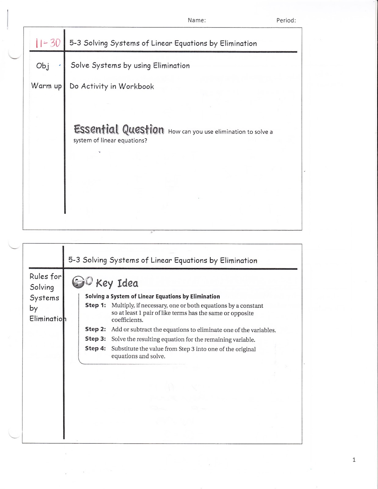 Ms Jean S Accel 7 Blog Accel 5 3 Soving Systems Of Linear Equations By Elimination