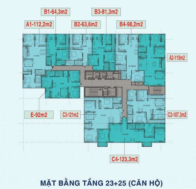 Mặt bằng tầng 23-25 chung cư Liễu Giai Tower