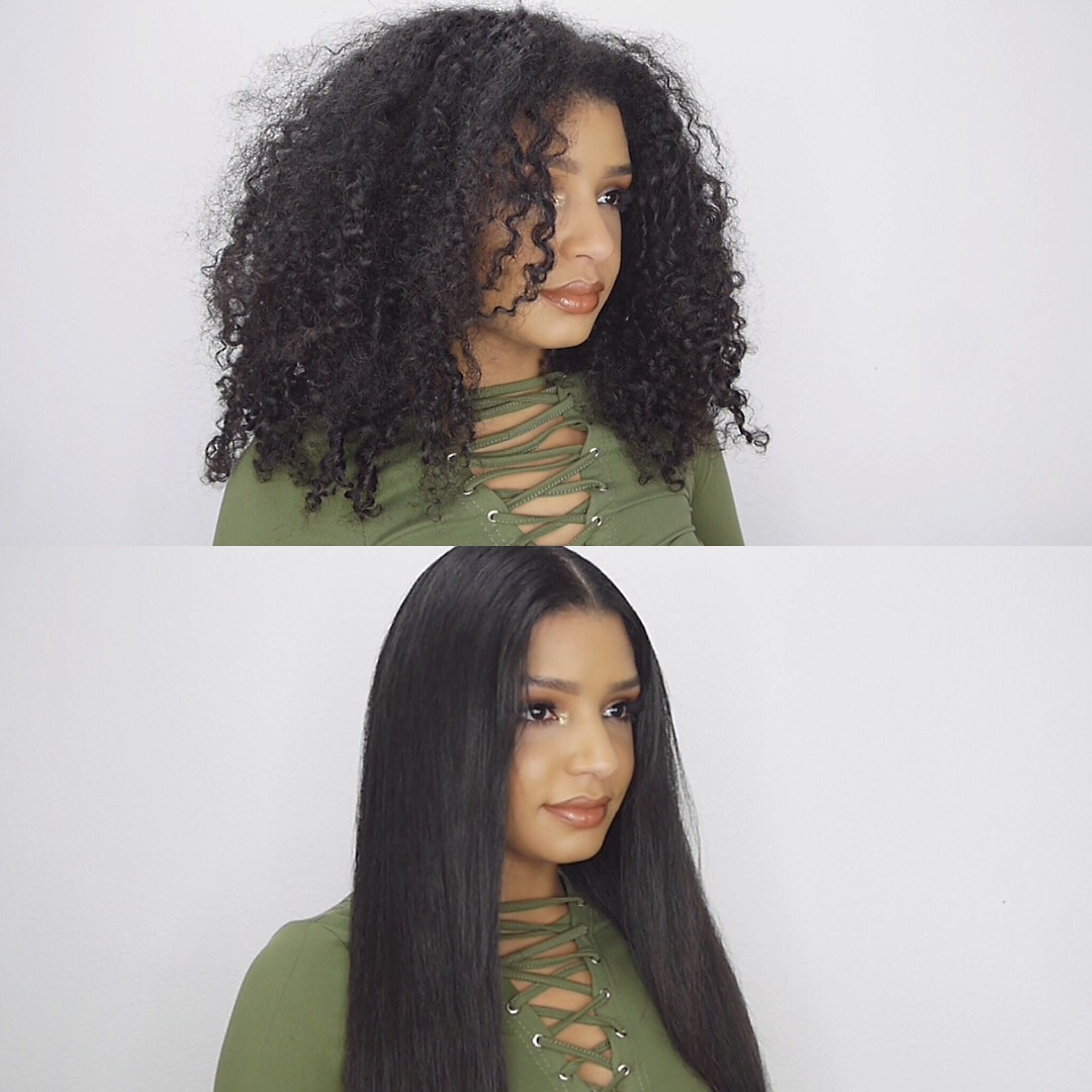 How To Go From Curly To Frizz Free Straight Hair Tutorial Natural