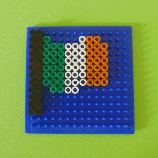 Ireland's Flag in green, white and orange worked in fused Hama beads