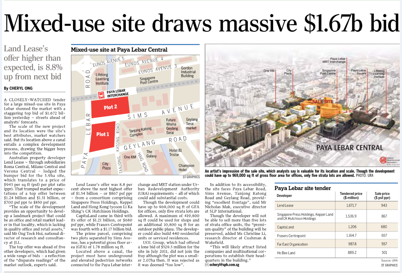 Mixed-use sites draws massive $1.67b bid - Government Land Sale (GSL)