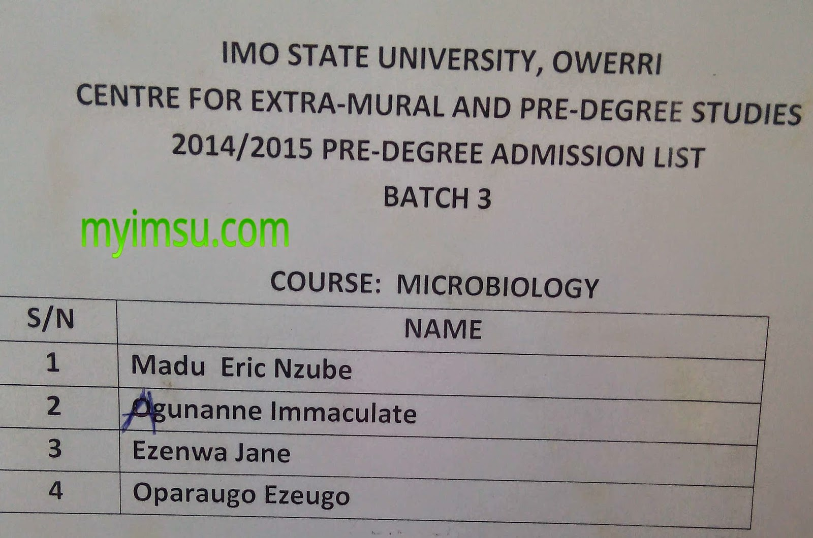 Imo state university courses