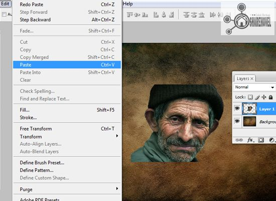 paste gambar old man - tutorial cara membuat efek smudge painting di photoshop