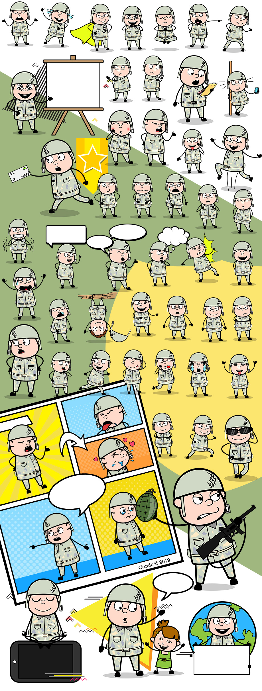 Alex The Army Man Vector Cartoon Character
