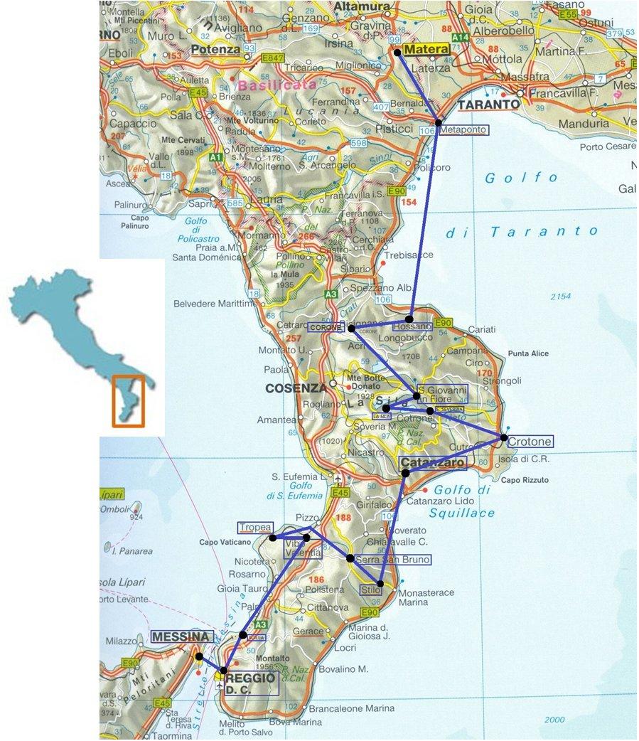 Carte Italie Calabre.Uni3 Reportages Fevrier 2011