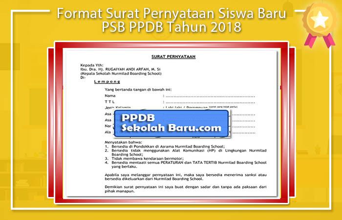 Format Pernyataan Surat Calon Peserta Didik
