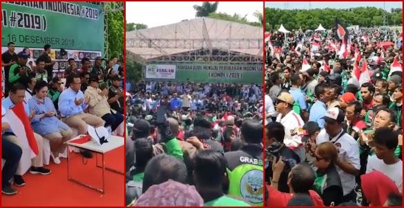 Pecahhh! Ribuan Pengemudi Ojol Gelar Kopdar dan Deklarasi Dukung Prabowo-Sandi
