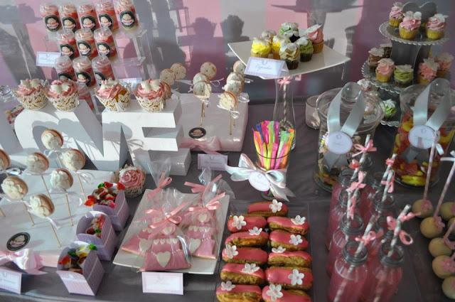 sweet table avec sucrerie et gourmandises tout en rose