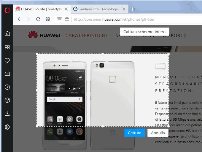 Opera 48 browser strumento per catturare schermate