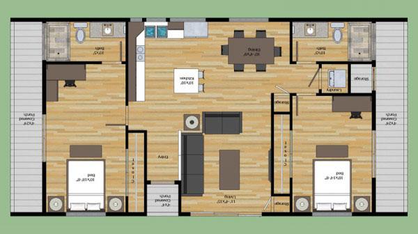 Fachada y plano arquitect nico de casa habitaci n estilo for Plano casa minimalista 3 dormitorios