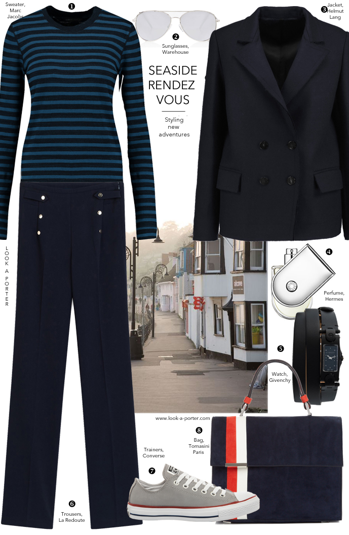 Styling nautical style... Sailor trousers, perfect stripes and a pair of Converse, all thrown in together for a casually chic look via www.look-a-porter.com style & fashion blog