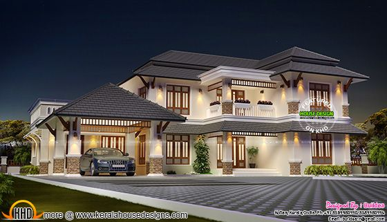 Aesthetic looking house plan in Kerala