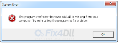 Adal.dll error for windows