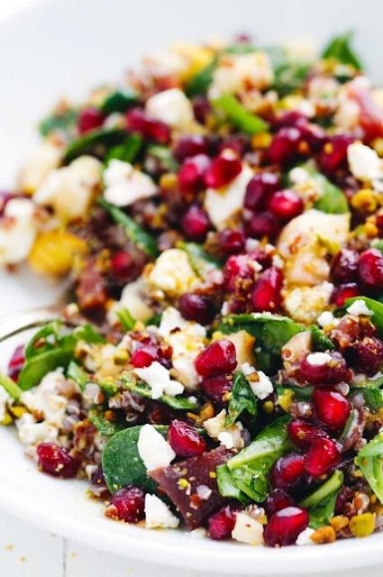 winter rainbow quinoa salad