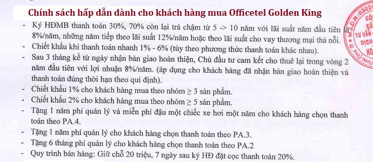 Chính sách ưu đãi cho khách hàng mua Officetel Golden King