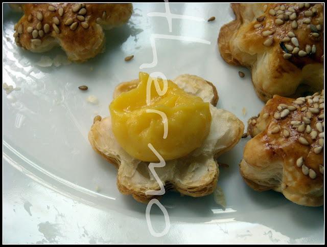 Margaritas de hojaldre con orange curd o crema de naranja