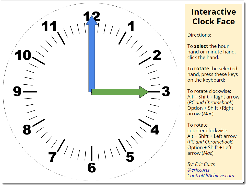Click This Link To Get Your Own Copy Of The Interactive Clock Face Template Google Drawing