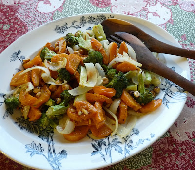 Roasted Squash & Broccoli Salad with Hazelnuts