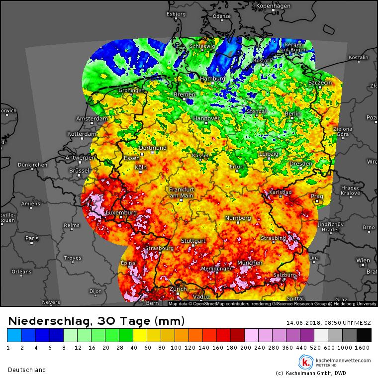 Niederschlag letzte 30 Tage aus Radardaten. Quelle: kachelmannwetter.com