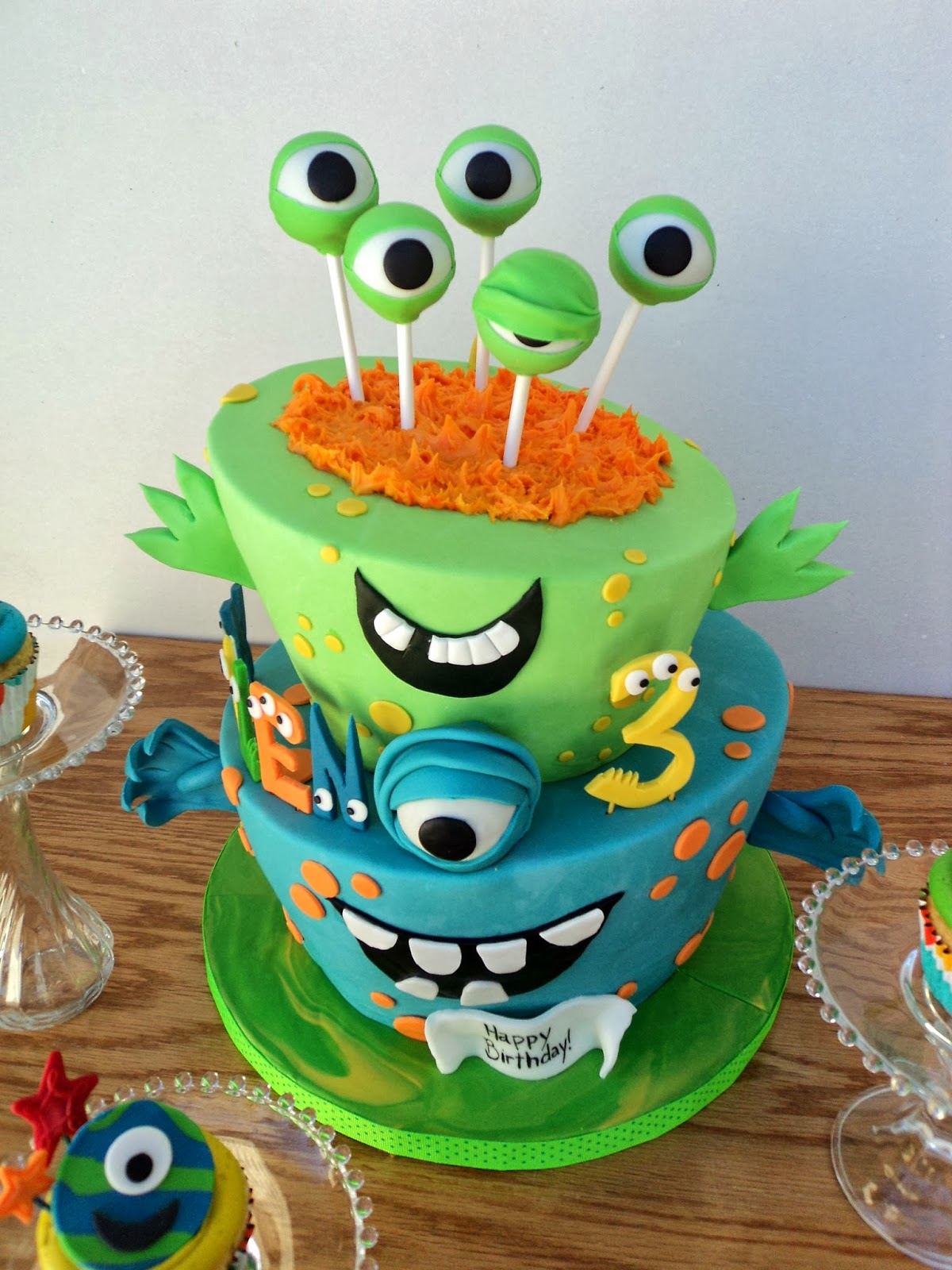 Delectable Cakes Little Monster Topsy Turvy Birthday Cake