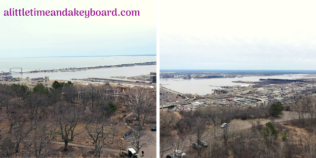 Sweeping harbor and Lake Superior views from atop Enger Tower in Duluth, Minnesota