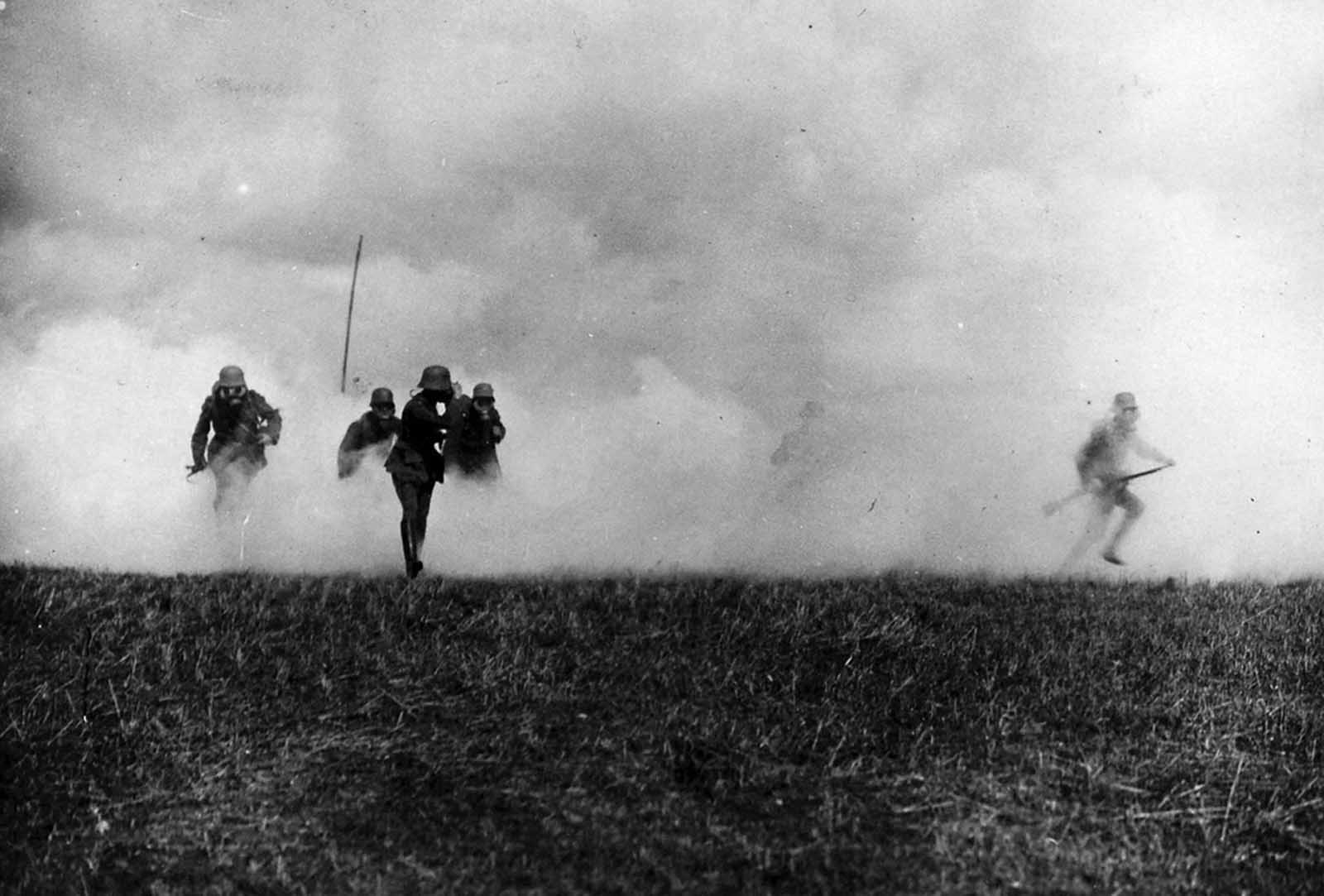 Flanders front. Gas attack, September, 1917.