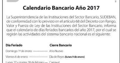 Feriados Bancarios 2017 en Venezuela ~ Feriados y Asuetos 2017