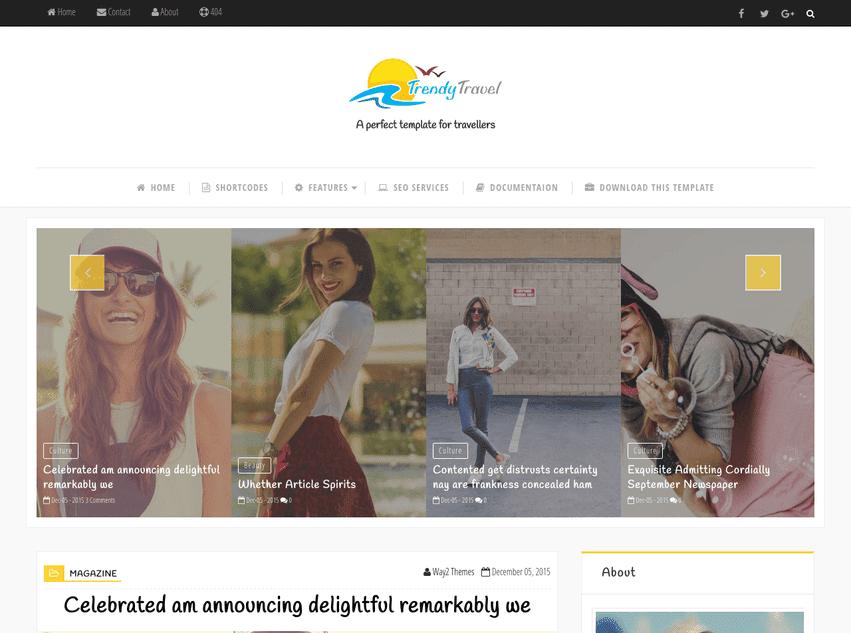 Trendy Travel Responsive Blogger template