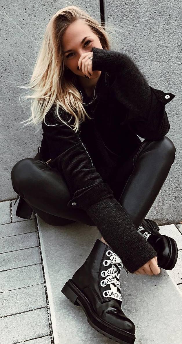 black on black_jacket + sweater + leggigs + boots