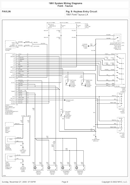 1991 ford taurus lx system wiring diagram for keyless entry