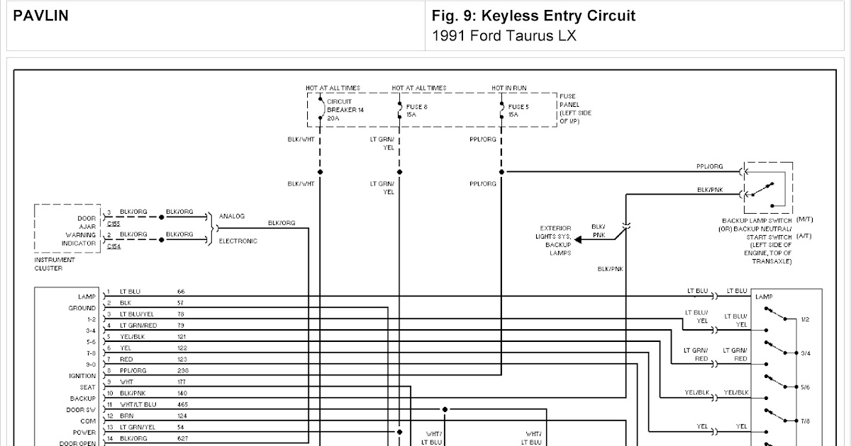 1991 Ford Taurus LX System Wiring Diagram for Keyless