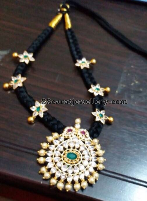 Black Thread Necklace with CZ Pendant