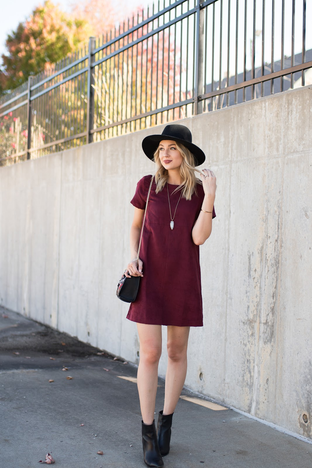 Burgundy shift dress for fall